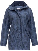 Anna Rose Hooded Floral Raincoat Navy/Mid Blue - Gallery Image 3