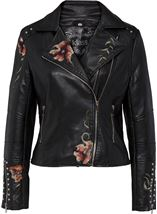 Embroidered Faux Leather Biker Jacket Black - Gallery Image 1