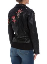 Embroidered Faux Leather Biker Jacket Black - Gallery Image 3