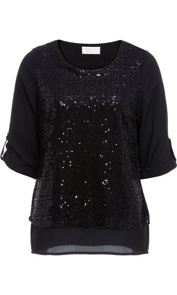 Anna Rose Sequin Layer Chiffon Top Black