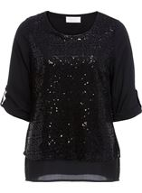 Anna Rose Sequin Layer Chiffon Top Black - Gallery Image 1