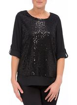 Anna Rose Sequin Layer Chiffon Top Black - Gallery Image 2