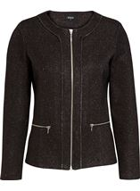 Unlined Sparkle Zip Jacket Black - Gallery Image 1