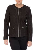 Unlined Sparkle Zip Jacket Black - Gallery Image 2