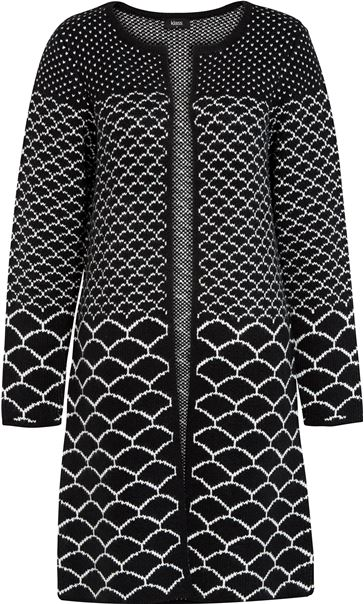 Long Open Monochrome Knitted Cardigan Black