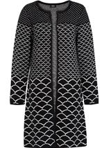 Long Open Monochrome Knitted Cardigan Black - Gallery Image 1