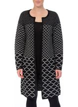 Long Open Monochrome Knitted Cardigan Black - Gallery Image 2