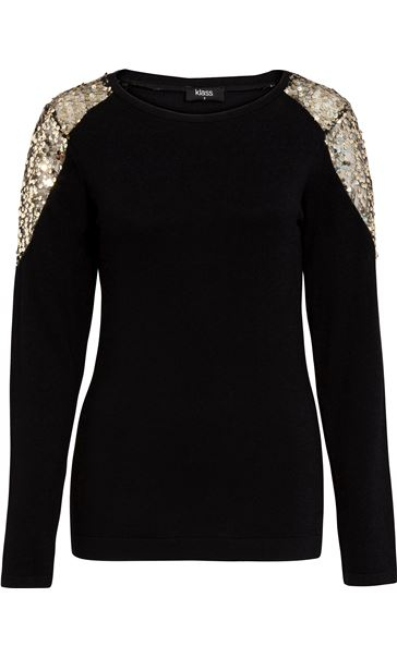 Sequin Trimmed Long Sleeve Knit Top Black