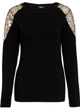 Sequin Trimmed Long Sleeve Knit Top Black - Gallery Image 1