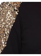 Sequin Trimmed Long Sleeve Knit Top Black - Gallery Image 4