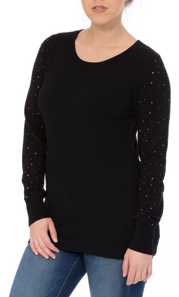 Long Embellished Sleeve Knitted Top Black - Gallery Image 2