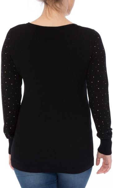 Long Embellished Sleeve Knitted Top Black - Gallery Image 3