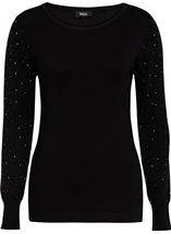 Long Embellished Sleeve Knitted Top Black - Gallery Image 1