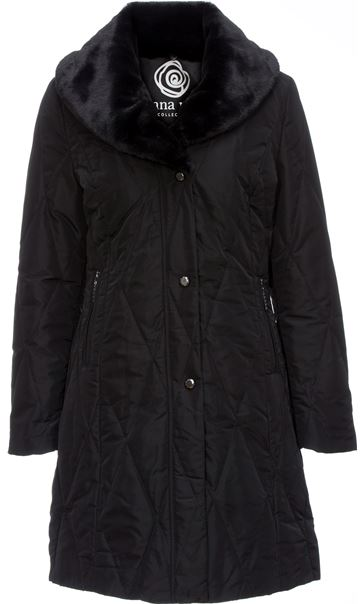 Anna Rose Detachable Faux Fur Collar Coat Black