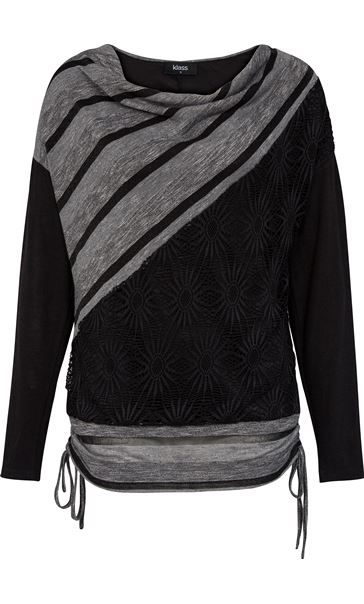Long Sleeve Textured Tunic Charcoal