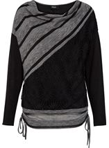 Long Sleeve Textured Tunic Charcoal - Gallery Image 1