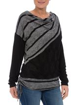 Long Sleeve Textured Tunic Charcoal - Gallery Image 2