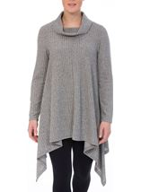 Cowl Neck Draped Hem Knit Top Charcoal - Gallery Image 2