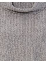 Cowl Neck Draped Hem Knit Top Charcoal - Gallery Image 4