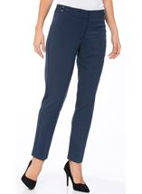 Narrow Leg Stretch Trousers Navy - Gallery Image 2
