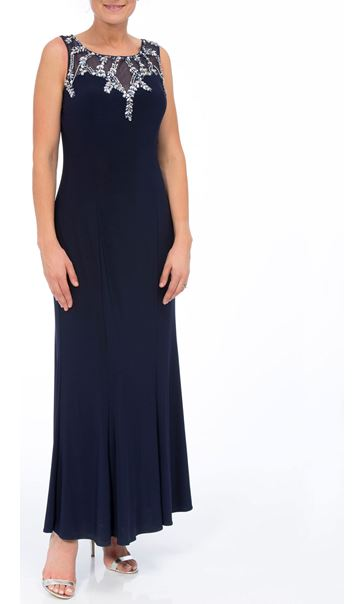 Embellished Sleeveless Maxi Dress Midnight/Silver - Gallery Image 1