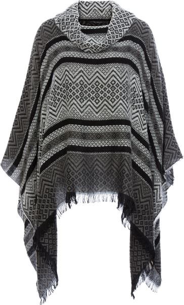 Cowl Neck Knitted Tassel Cape Black/Grey
