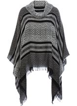 Cowl Neck Knitted Tassel Cape Black/Grey - Gallery Image 1