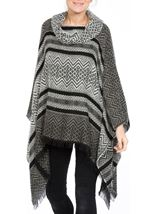 Cowl Neck Knitted Tassel Cape Black/Grey - Gallery Image 2