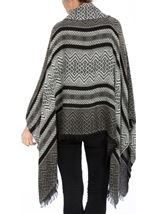 Cowl Neck Knitted Tassel Cape Black/Grey - Gallery Image 3