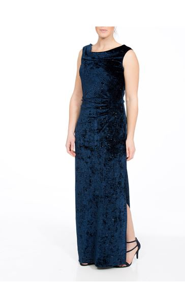 Velvet Sparkle Sleeveless Maxi Dress Blue