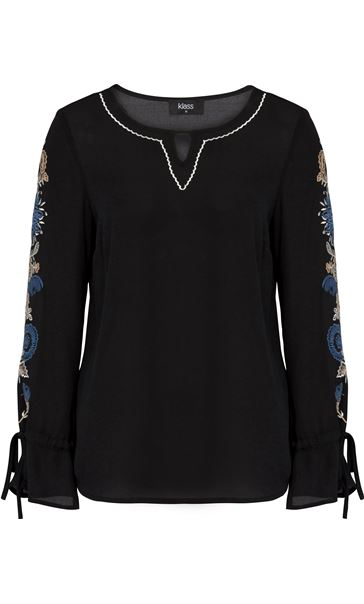 Embroidered Long Tie Sleeve Chiffon Top Black/Cobalt