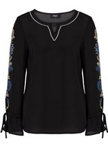 Embroidered Long Tie Sleeve Chiffon Top Black/Cobalt - Gallery Image 1