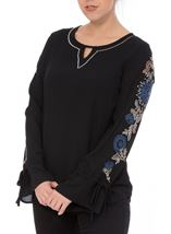 Embroidered Long Tie Sleeve Chiffon Top Black/Cobalt - Gallery Image 2