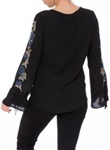 Embroidered Long Tie Sleeve Chiffon Top Black/Cobalt - Gallery Image 3