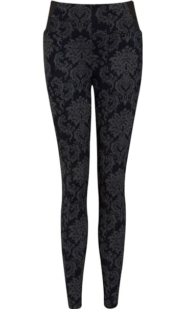 Fitted Pull On Printed Trousers Navy/Grey