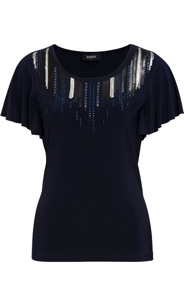 Embellished Jersey Short Sleeve Top Midnight