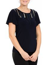Embellished Jersey Short Sleeve Top Midnight - Gallery Image 2