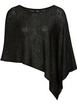 Sequin Knit Poncho Black - Gallery Image 1