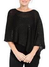 Sequin Knit Poncho Black - Gallery Image 2