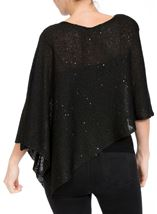 Sequin Knit Poncho Black - Gallery Image 3