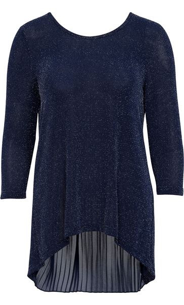Pleat Panel Shimmer Top Blue/Silver