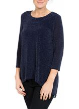 Pleat Panel Shimmer Top Blue/Silver - Gallery Image 2