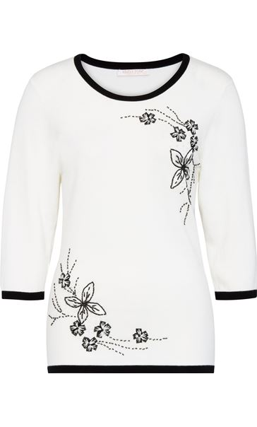 Anna Rose Floral Bead Knit Top Ivory