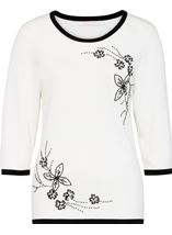 Anna Rose Floral Bead Knit Top Ivory - Gallery Image 1