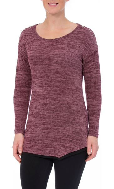 Long Sleeve Eyelet Trim Top Black/Magenta