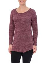 Long Sleeve Eyelet Trim Top Black/Magenta - Gallery Image 1