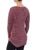 Long Sleeve Eyelet Trim Top Black/Magenta - Gallery Image 2