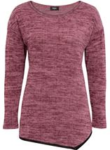 Long Sleeve Eyelet Trim Top Black/Magenta - Gallery Image 4