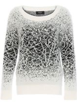 Monochrome Eyelash Knit Top Ecru/Black - Gallery Image 4