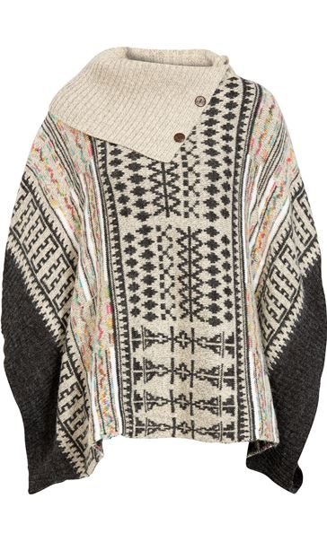 Patterned Knitted Cape Grey Multi